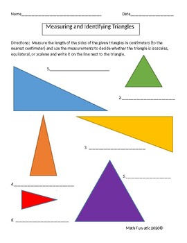 Measuring And Identifying Triangles By Math Fun Atic Tpt