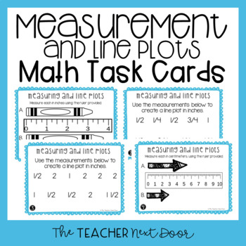 Measuring and Line Plots Task Cards | Inches and Centimeters Line Plot Center