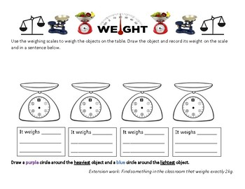 Measuring and Recording Weight on a Scale - Grade 1 or 2 Worksheet - Hands-on