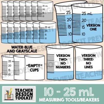 Measuring cups/beakers clip art: 10 mL to 25 mL