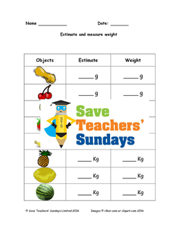 Measuring fruit and vegetables (3 levels of difficulty)