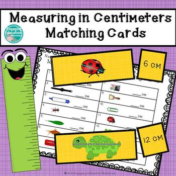 Measuring in Centimeters Matching Cards and Recording Sheet