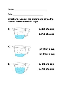 Measuring in Cups-Multiple Choice