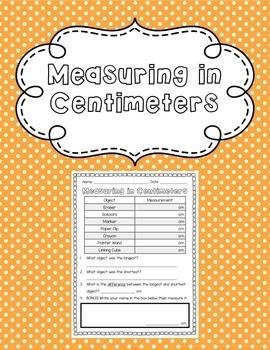 Measuring in Centimeters Printable