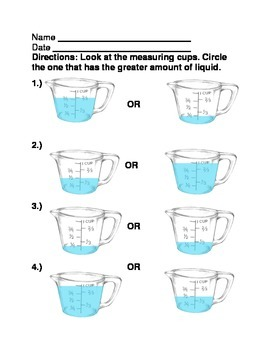 Measuring in cups ( Determining Greater and Smaller Amounts)
