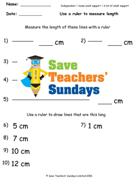 Measuring lines worksheets (3 levels of difficulty)