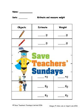 Measuring metric weight (g and kg) lesson plans, worksheets and more