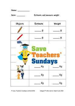 Measuring metric weight worksheets (g and kg) (3 levels of
