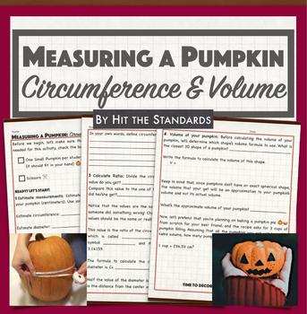 Measuring a Pumpkin Project Halloween Activity Circumference Volume Pi Ratio