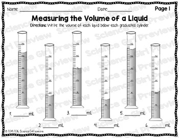 Graduated Cylinders - Measuring the Volume of a Liquid {FREEBIE}