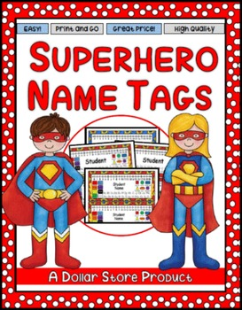 Super Hero Themed Desk Name Tags EDITABLE