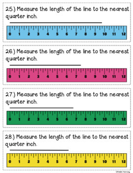 Measuring to the Nearest Half and Quarter Inch Task Cards {With Line Plots}