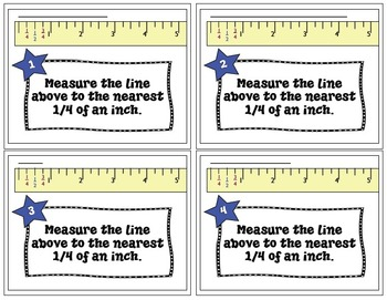 Measuring to the nearest 1/4 inch - teaching tool and 40 TASK CARDS