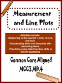 Measuring to the nearest 1/4 inch and line plots Common Core