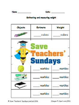 Measuring weight (metric) lesson plans, worksheets and more