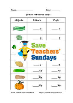 Measuring weight (metric) of vegetables worksheets (2 levels of difficulty)