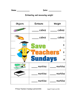 Measuring Weight (metric) Worksheets