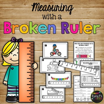 Measuring with a Broken Ruler Task Cards and Worksheets, 2nd Grade