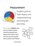 Measurement Converting yards feet inches using a spinner or number cards