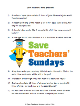 Measurment word problems (metric) lesson plans, worksheets