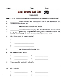 Meat, Poultry & Fish Lesson