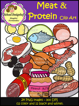 Meat & Protein Clip Art - Food Groups (School Designhcf)