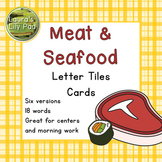 Meat and Seafood Word Letter Tiles Cards