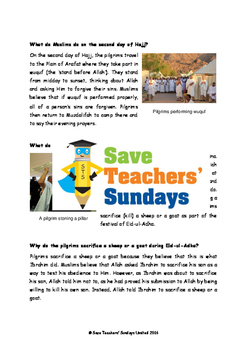 Mecca, The Hajj and Eid-ul-Adha Lesson plans, Text and Worksheets (3 lessons)