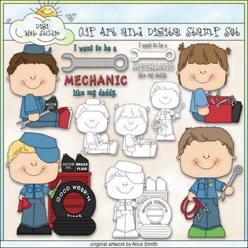 Mechanic Daddy 1 - Commercial Use Clip Art & Black & White Images