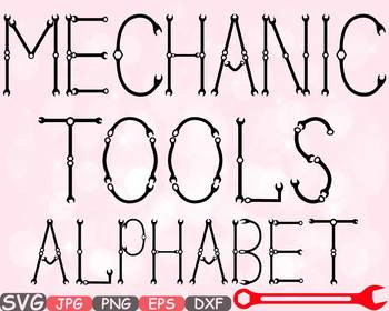 Mechanic Tools Alphabet SVG clipart Letters ABC Handyman Science wrench -647s