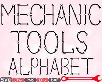 Mechanic Tools Alphabet SVG clipart Letters ABC Handyman S