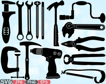 Mechanic Tools clipart Handyman hammer pliers bundle father's day drill saw 593s
