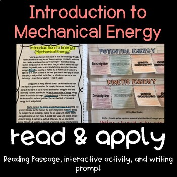 Potential Kinetic Energy Reading Comprehension Interactive Notebook