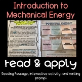Introduction to Mechanical Energy (Potential and Kinetic) Read and Apply FREEBIE