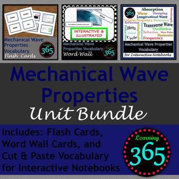 Mechanical Wave Properties Vocab Unit Bundle