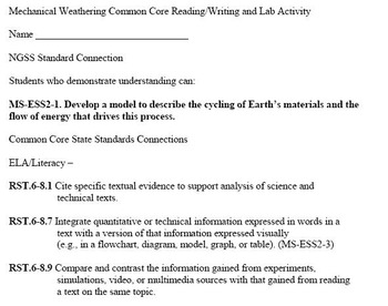 Mechanical Weathering Common Core Reading, Writing and Lab Activity
