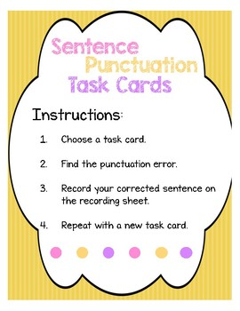 Mechanics: Sentence Punctuation Task Cards