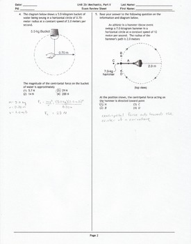 Mechanics Unit B Exam Review Sheet Answer Key