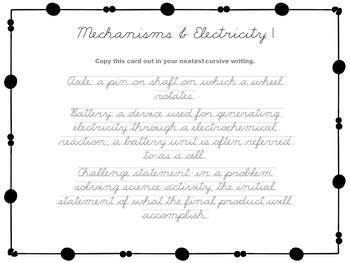 Mechanisms and Electricity Cursive Task Cards