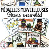 Médailles merveilleuses - Fêtons ensemble! (FRENCH Holiday Reward Tags)