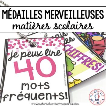 Médailles merveilleuses - matières scolaires (FRENCH School Subject Brag Tags)
