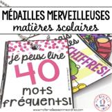 Médailles merveilleuses - matières scolaires (FRENCH School Subject Reward Tags)