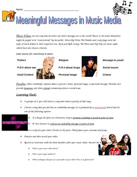Medi Literacy: Creating A Parody / Exploring Messages in Music