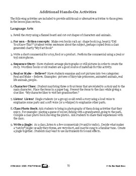Media Activities Lesson Plan  - Aligned to Common Core
