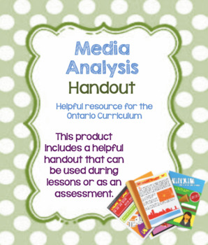 Media Analysis Activity: Can be used for any piece of media!