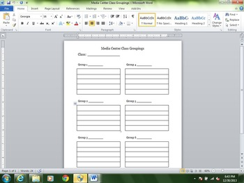 Media Center Class Grouping Template for Work Station Assignments