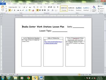 Media Center Common Core Lesson Plan Template Featuring Work Stations