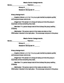 Media Center Group Assignment Sheet