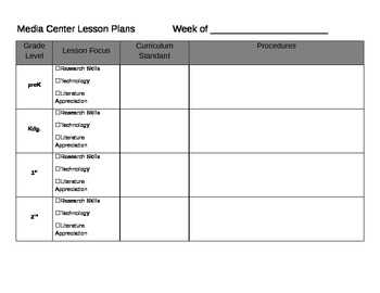 media center lesson plan template free by jennifer siderius tpt