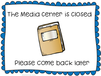 Media Center or Library Open and Closed Signs